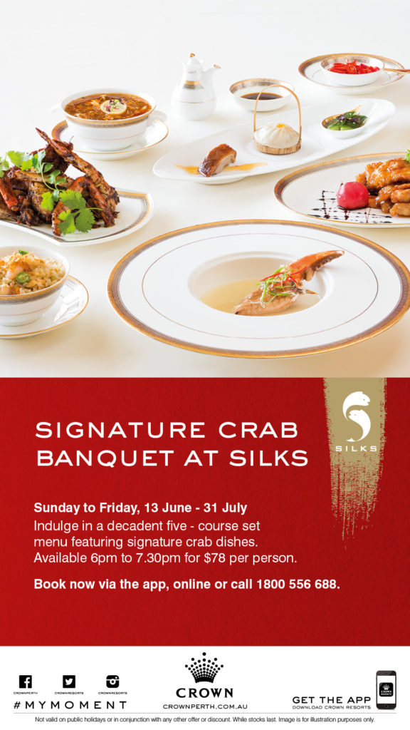 Silks Mud Crab Banquet - five courses.