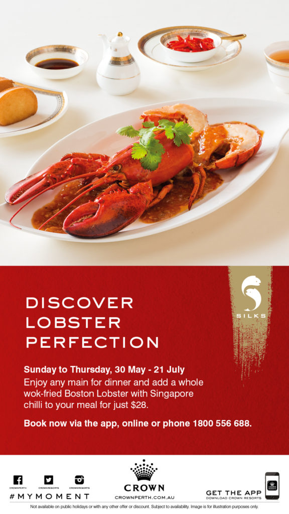 Boston lobster, wok fried Singapore style with chilli, garlic, tomato and ginger, accompanied with golden mantou buns.