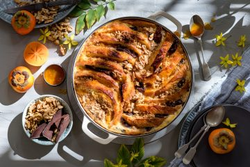 Walnut, Chocolate & Whisky Bread and Butter Pudding